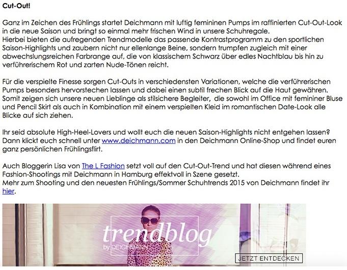Publications   Deichmann Newsletter   The L Fashion
