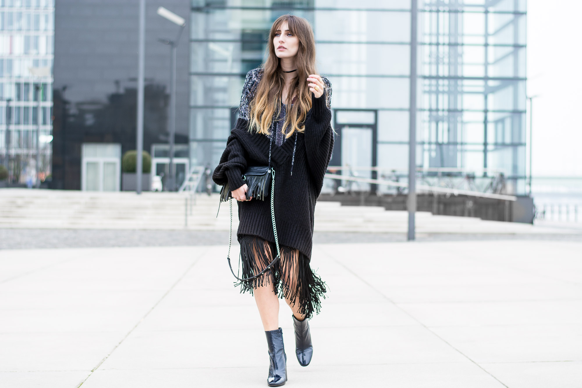Odd Molly Fringe Dress & Buffalo Ankle Boots | Lisa Fiege