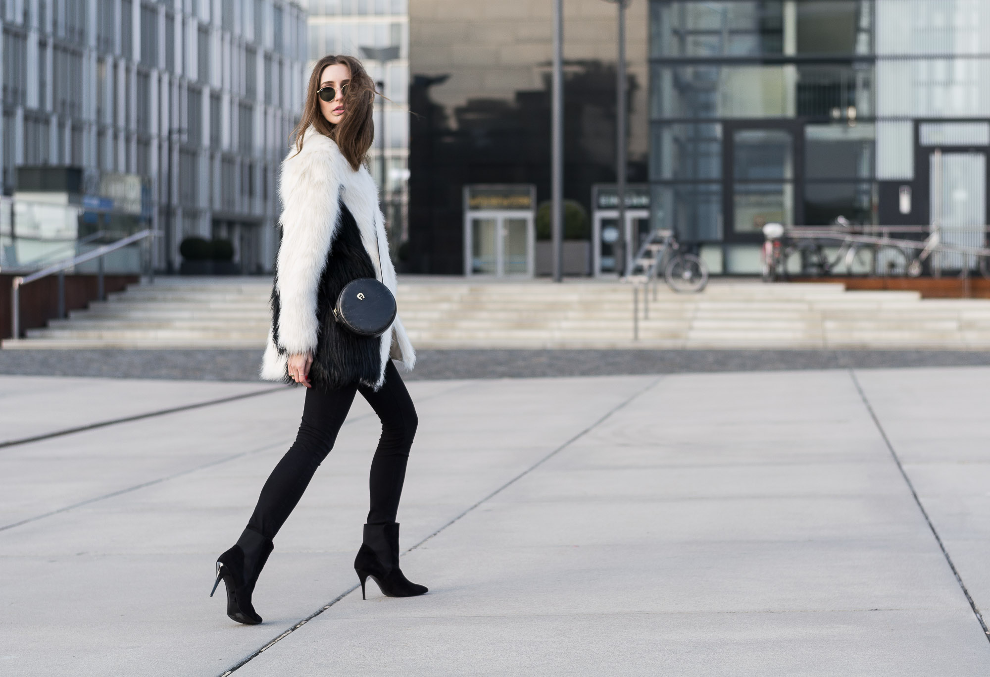 Unreal Fur Coat & Peter Kaiser Ankle Boots | Lisa Fiege
