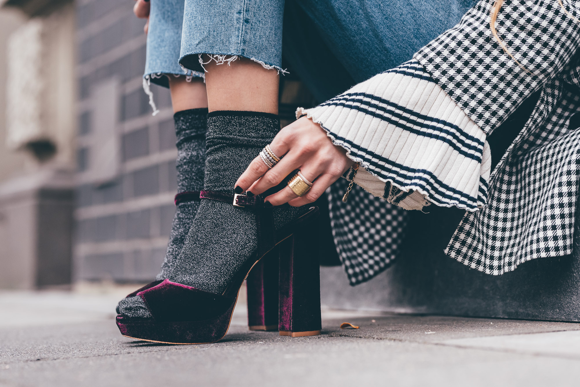 Buffalo Velvet High Heels & Glitter Socks | Lisa Fiege